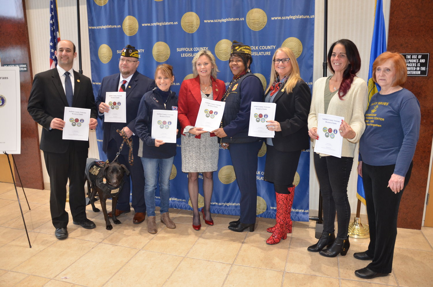 Suffolk legislators were joined by community advocates and by veterans to announce a new guide that compiles countywide resources for veterans.