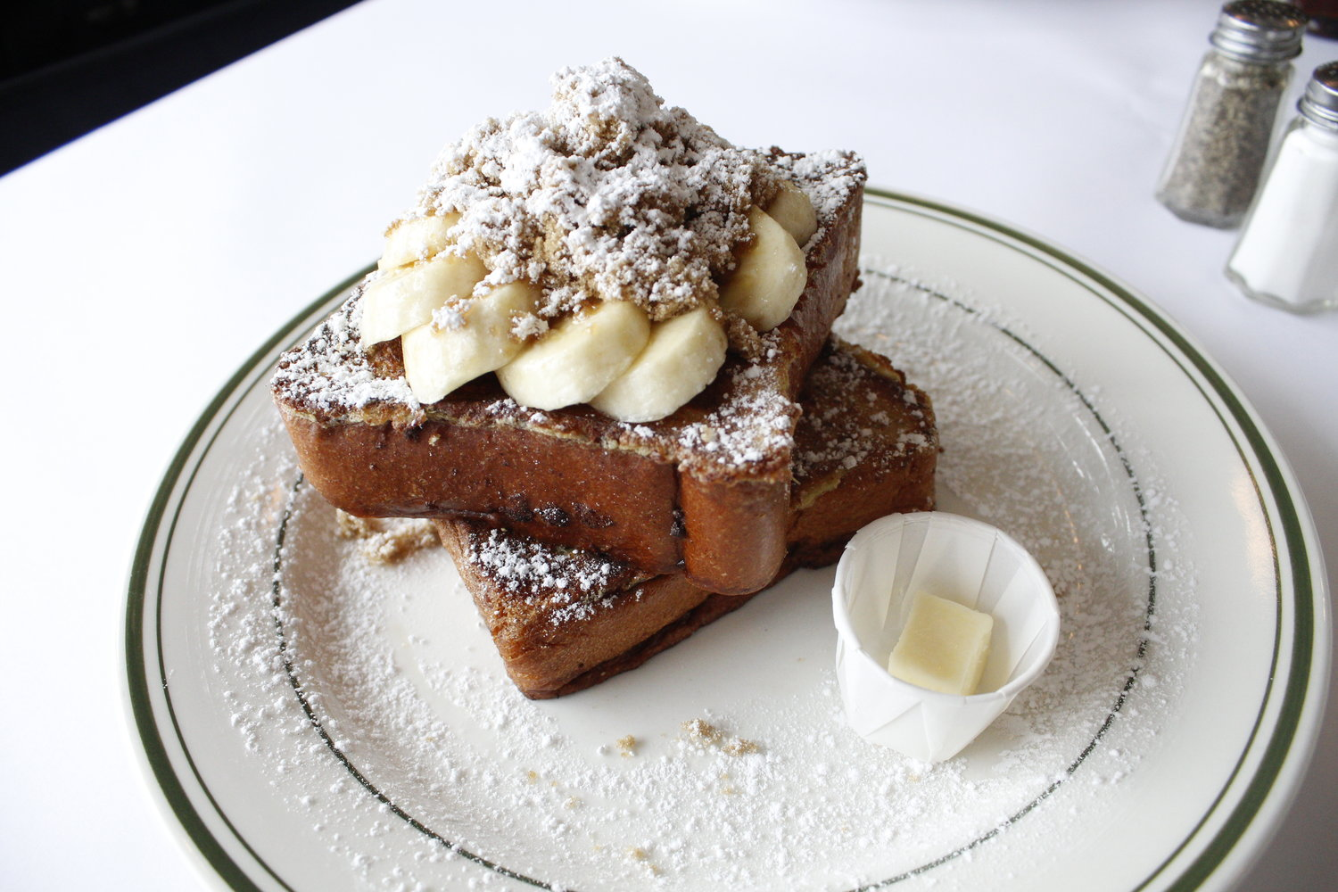 The brioche French toast was one of the best we've had, topped with bananas and brown sugar. (Photo was taken before we drowned it in maple syrup.)