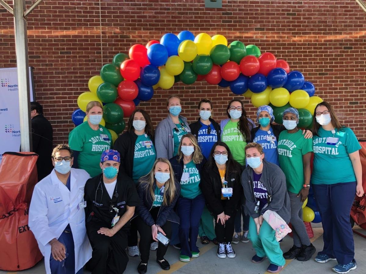 Staff at Southside Hospital sported various colored shirts that formed a rainbow in the hospital parking lot for A Day of Hope on April 14. The shirts and the day represent the acknowledgment of positive work the hospital has achieved amid the COVID-19 pandemic.