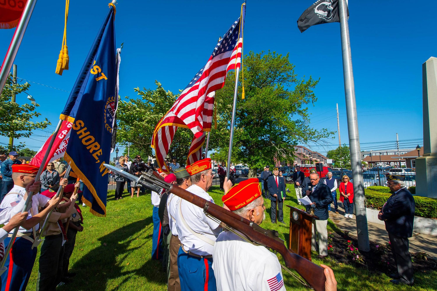 Monday, May 25, is Memorial Day. Islip Town is doing things to celebrate differently this year — unlike last year's celebration, which is pictured — in order to abide by social- distancing restrictions.