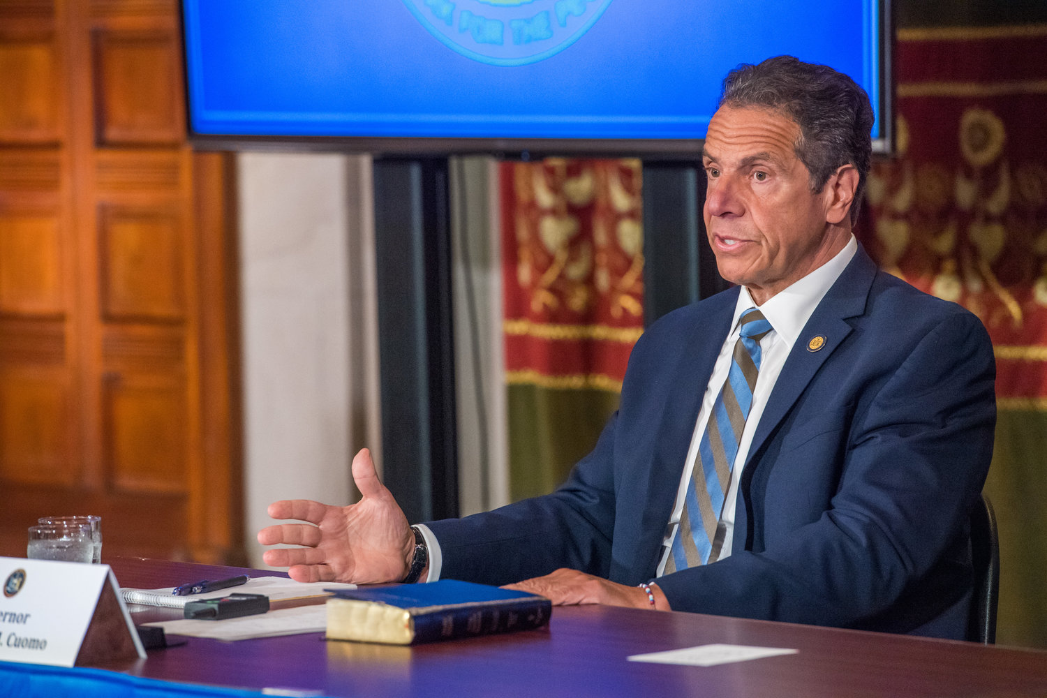 Governor Andrew Cuomo at a press briefing last summer.