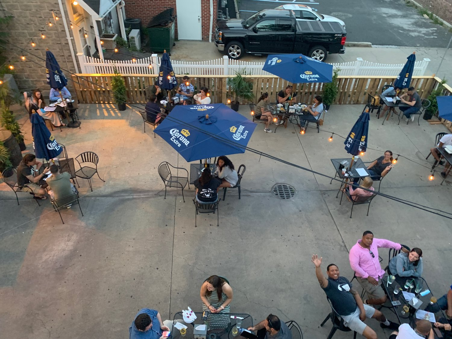 Diners filled the 6-foot-apart tables at the Tap Room during the first night of the reopening to outdoor dining on Wednesday, June 10.
