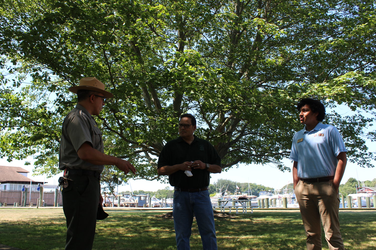 FINS Superintendent Alexcy Romero (left) with deputy director David Vela, who exercises the authority of director for the National Park
