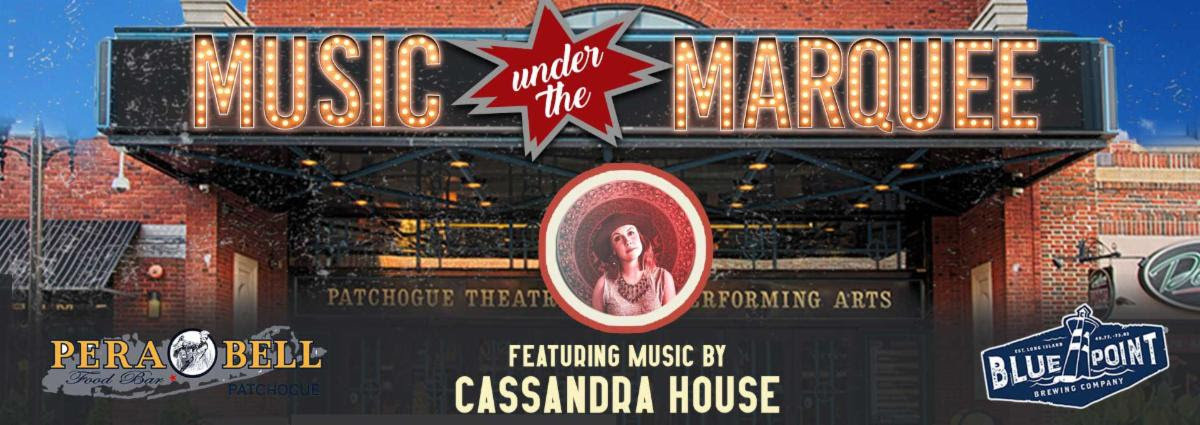 Live and under the marquee, the Patchogue Theatre for the Performing Arts will host their first live event since the pandemic's shutdown, with music courtesy of Cassandra House, food by PeraBell and drinks by Blue Point Brewing Co., a true local event. Seats are limited to 36 people.