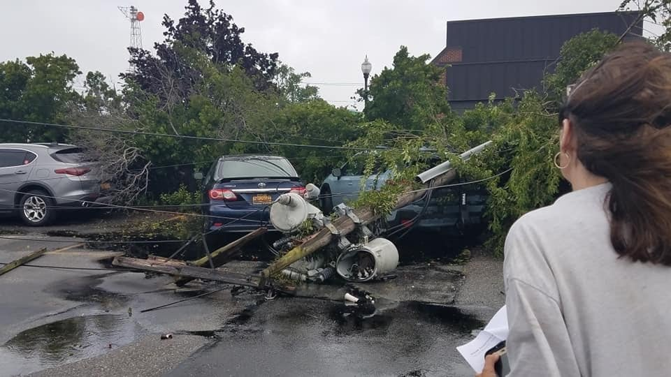 A utility pole fell at the Advance's headquarters during Tropical Storm Isaias