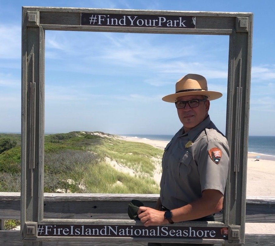 FINS superintendent Alex Romero brought several officials on a familiarization tour of maintenance issues at Fire Island as well as the William Floyd Estate, which the recently passed Great American Outdoors Act could address.