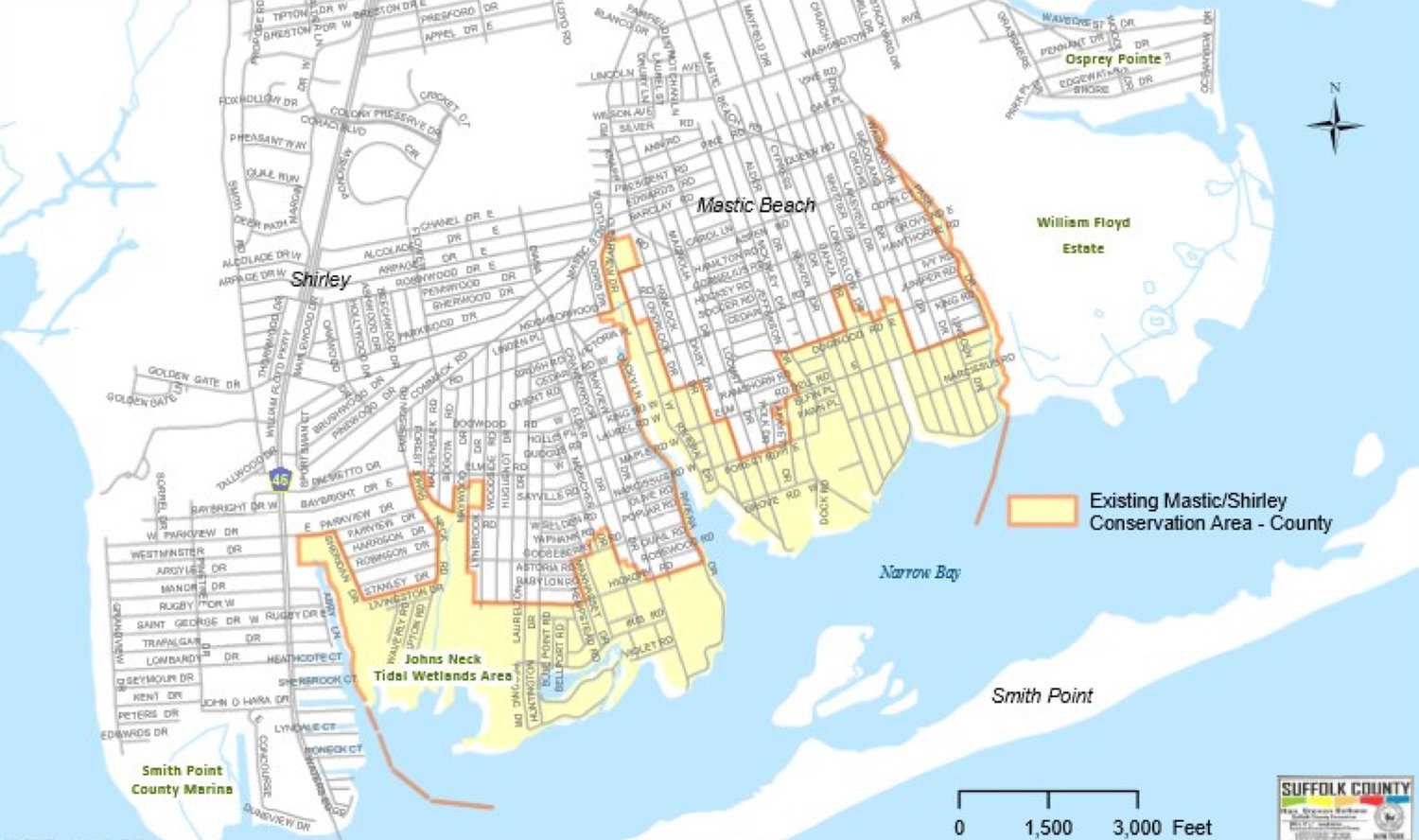 The current borders of the Mastic-Mastic Beach-Shirley Conservation Area. Surveys are available to residents that will help determine if and