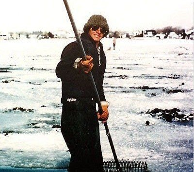 Steve Kuhn in his early years as a clammer, tackling the ice.
