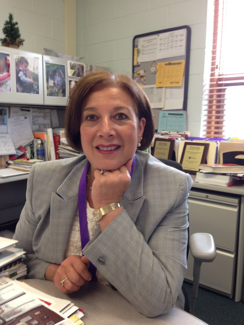 Islip Union Free School District superintendent Ellen Semel in her office. Semel, who has served the Islip district for nearly 15 years, will retire at the end of this academic year.