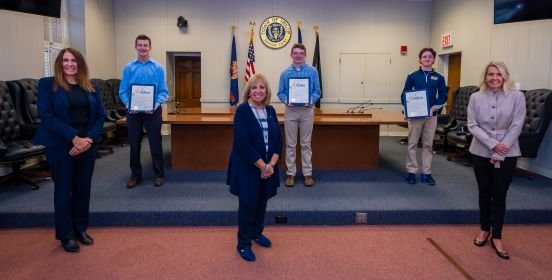 Bayport teens Riley Spencer, Ethan Christophersen and Braedan Downey were honored by town supervisor Angie Carpenter, councilwoman Mary Kate Mullen and Islip Youth Enrichment services executive director MaryAnn Pfeiffer at a recognition ceremony Oct. 28 at Islip Town Hall.