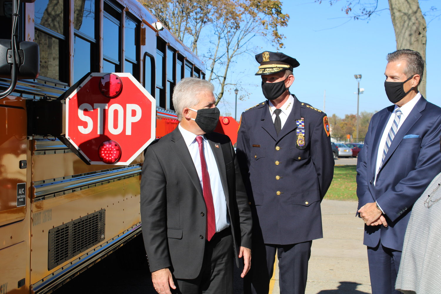 Suffolk County executive Steve Bellone announces a new partnership with BusPatrol America, Nov. 10, at Bay Shore's district building, which will implement stop-arm cameras to roughly 6,000 school buses in the county.