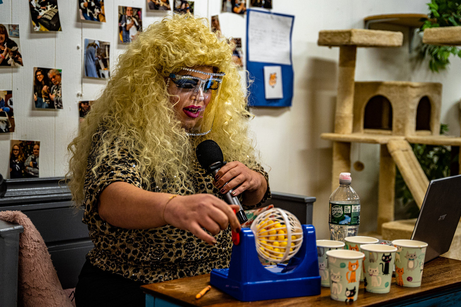 "Glorious drag performer Annie Manildoo (""any man will do"") had bingo players entertained and bursting at the seams with laughter with her raunchy number-calling at the Shabby Tabby Cat Café."
