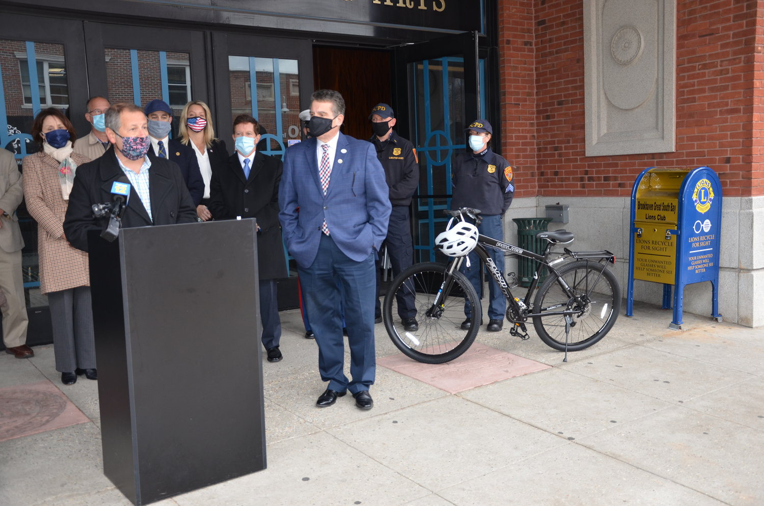 Greater Patchogue Chamber of Commerce president David Kennedy explained that the volume of events in Patchogue like Alive After Five warrants patrol by bicycle. Two bicycles were donated to SCPD by the Suffolk County Alliance of Chambers.