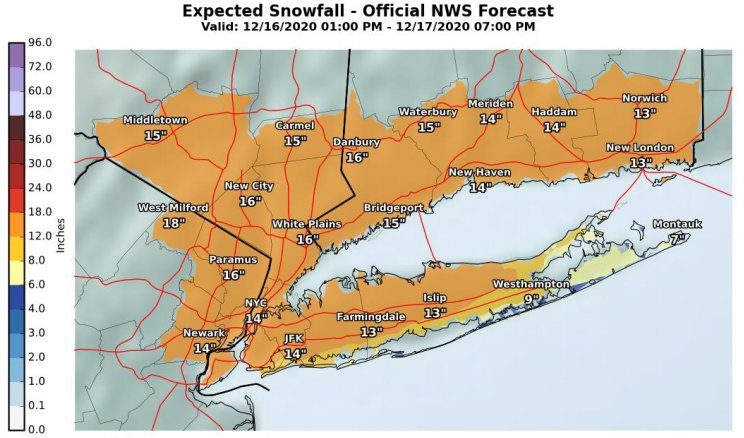 The National Weather Service graphic shows the expected snowfall in Suffolk County from Dec. 16 to Dec. 17.