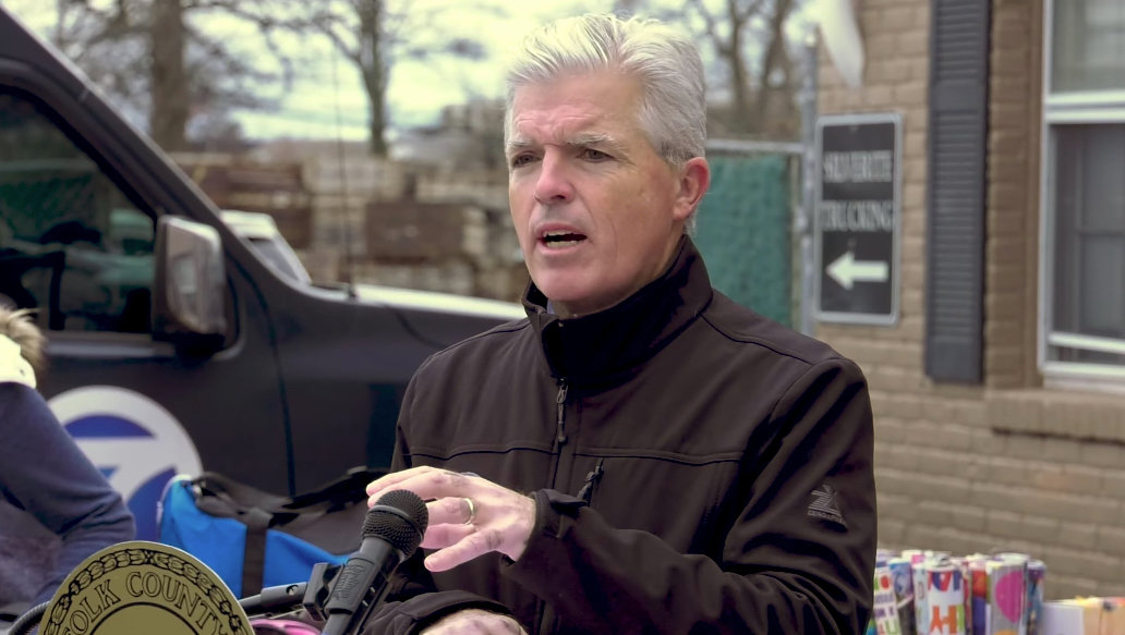 Suffolk County executive Steve Bellone provides a COVID-19 update at a Dec. 8 press conference.