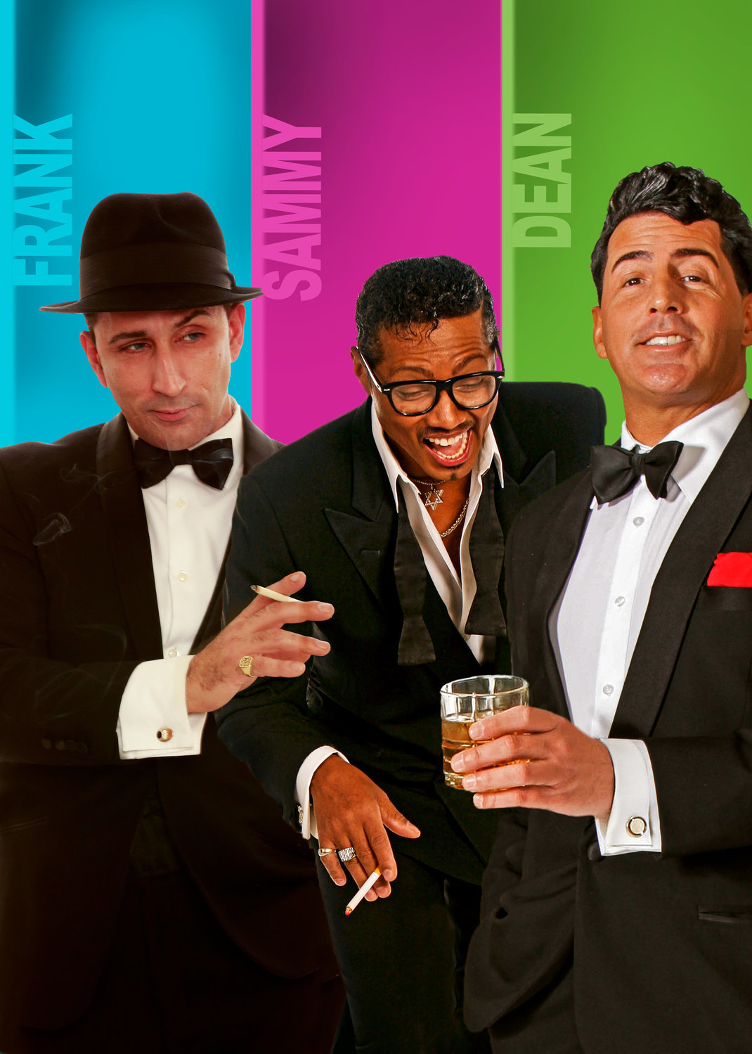 Chris Jason as Frank Sinatra, Kyle Diamond as Sammy Davis Jr. and Drew Anthony as Dean Martin were live-streamed at The Gateway Drive-In Theatre New Year's Eve.