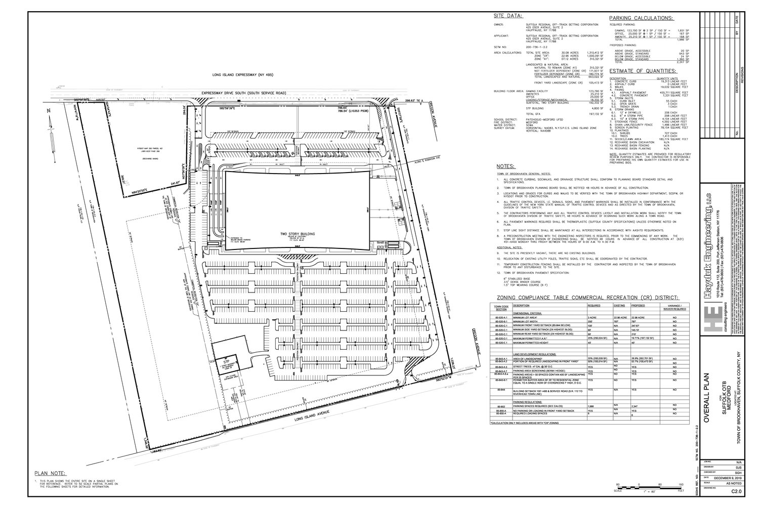 A preliminary site plan of Suffolk OTB's plans for a Medford casino was revealed in December. No formal site plan has been submitted to Brookhaven Town. This is the only page received by the civic ahead of the meeting.