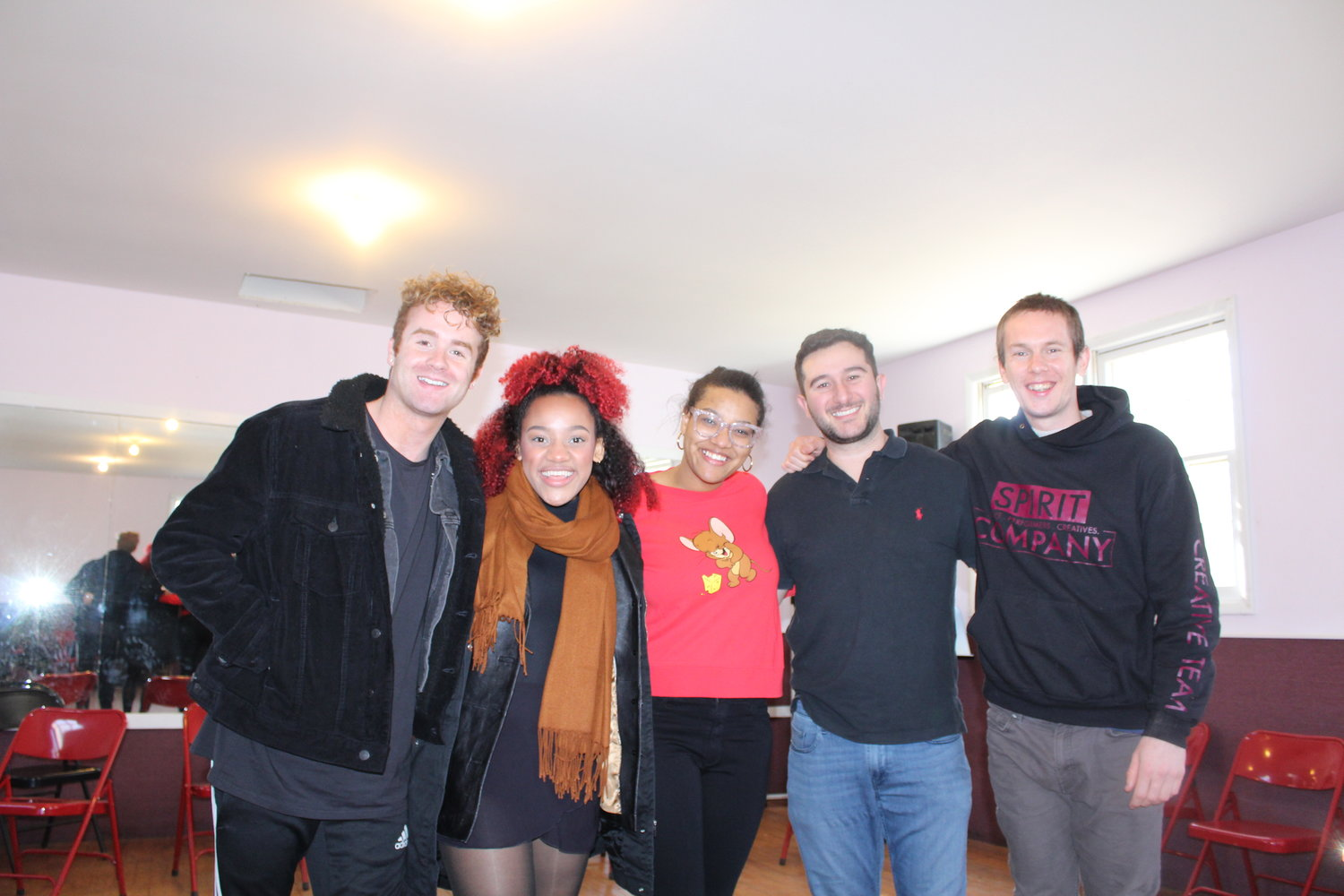 "Danny George, chief executive officer of Manhattan-based The Growing Studio International and executive director of LINK, brought workshop classes for musical theatre students to The Gateway. Pictured (left to right): Zac Molegraaf, Haile Ferrier, Shereen Pimentel, the new Maria in ""West Side Story,"" 