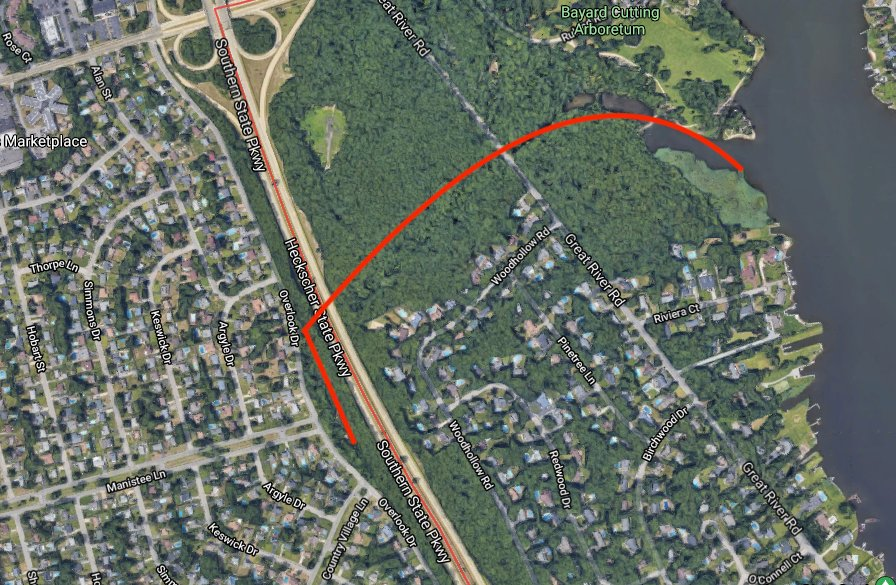 A Google Maps screenshot displays the area in East Islip. The red line serves as the estimated path the runoff water follows, which flows out into the  Connetquot River.