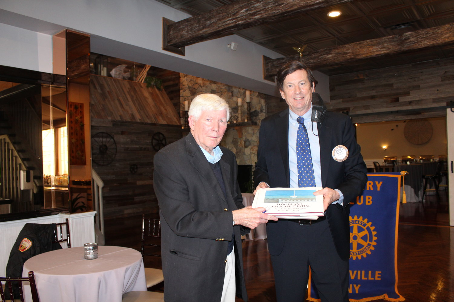 Former Islip deputy supervisor and councilman Chris Bodkin was honored at a recent Rotary Club of Sayville meeting for the programs he initiated while in office. Bodkin (left) is with