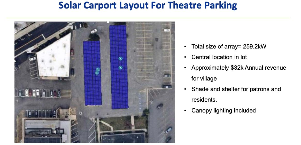 An overview of the solar carport layout for theatre parking created by Johnson Controls and the Village of Patchogue in an effort to go green.