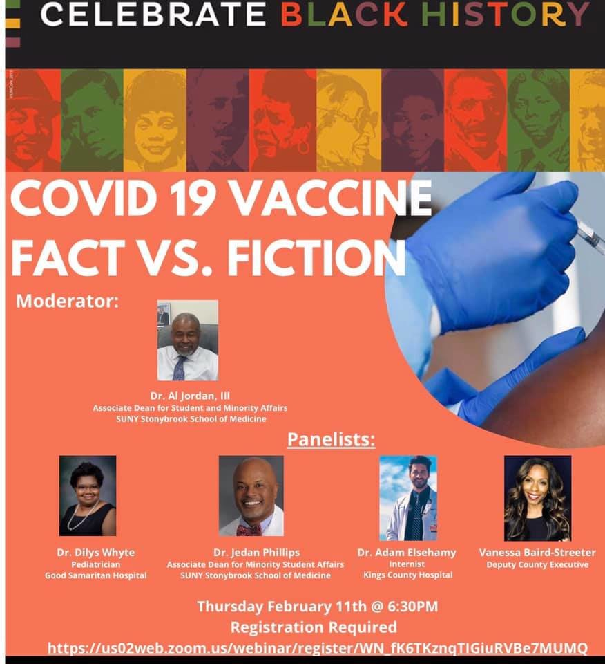 "A flyer for Suffolk County Human Services' virtual webinar, ""COVID-19 VACCINE: Facts vs. Fiction,"" which took place Feb. 11."