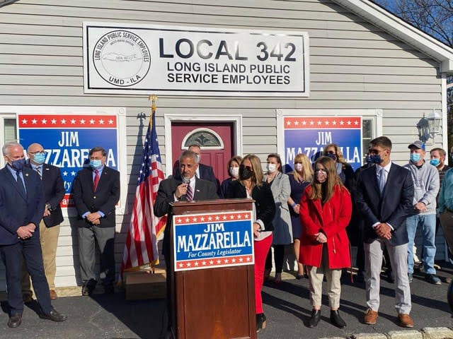 Jim Mazzarella announces his run as the Republican and Conservative candidate for Suffolk's Third Legislative District last week.