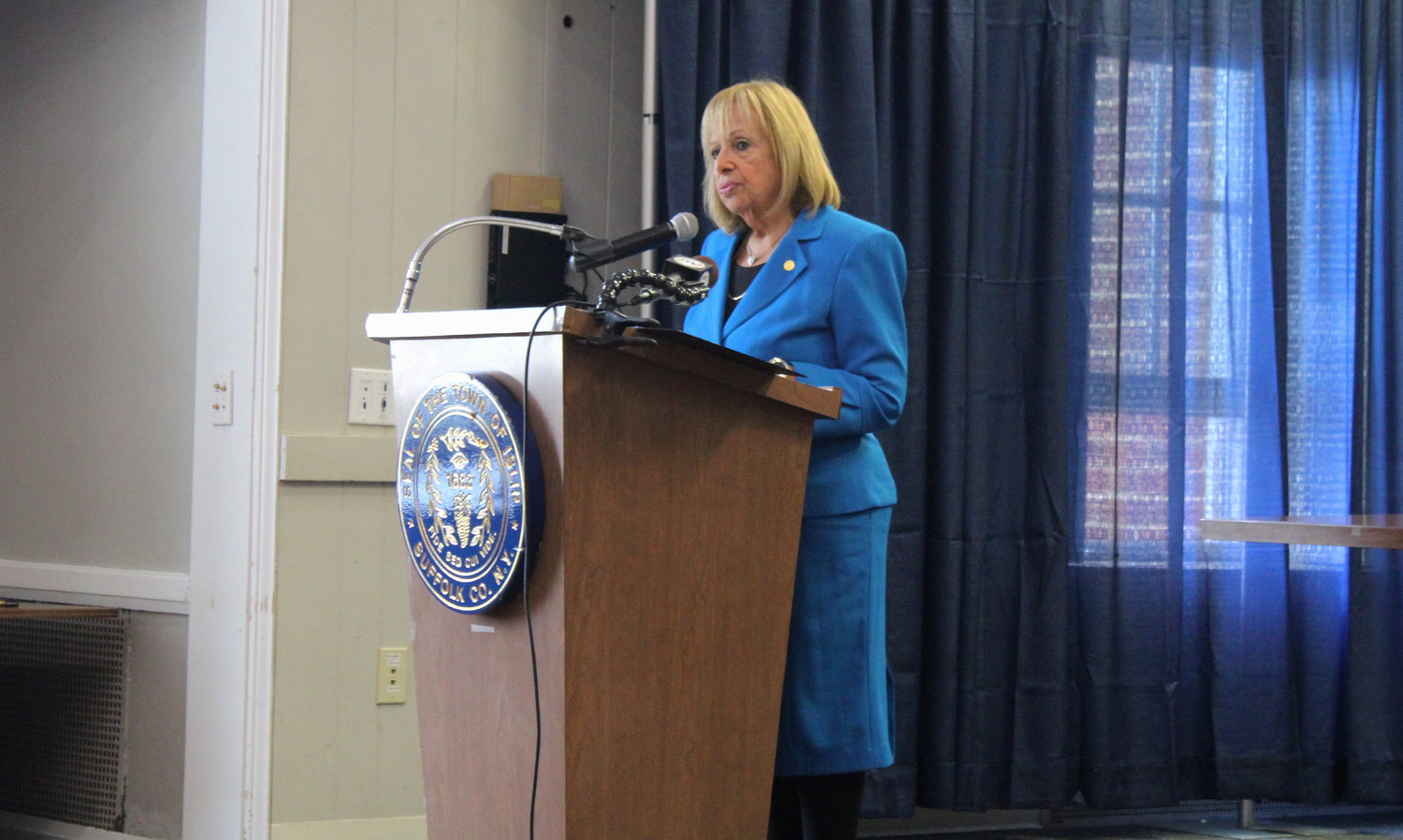 Islip Town supervisor Angie Carpenter gives her State of the Town address at Islip Town Hall on April 21.