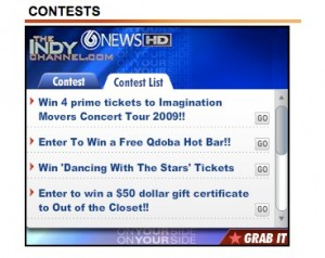 "A-list winners participate in ""register-to-win"" contests... and keep the data collected. This shows a contest promotion on the home page of WRTV in Indiannapolis."