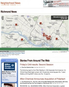 Outsidein.com's curated news page shows the geographic location of each news item.