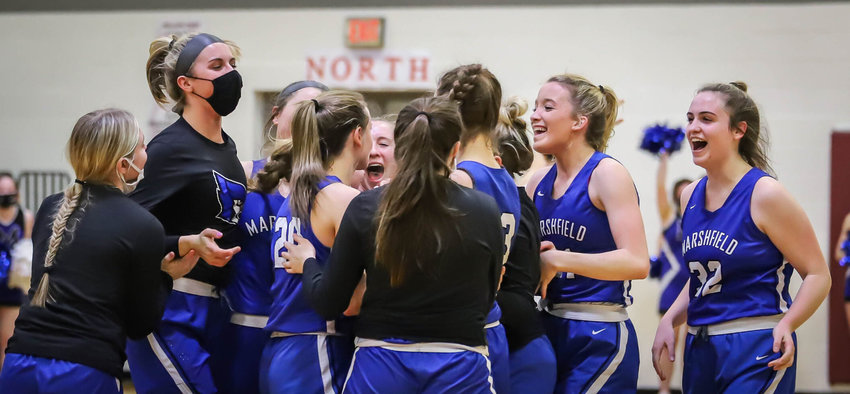 The Lady Jays celebrate after beating state-ranked Rolla in Monday's Class 5 district semifinal.