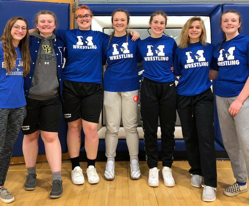 Marshfield had six wrestlers finish in the top-4 at sectionals: (from left) Rozalyn Richerson, Kylie Martin, Leanna Merrell, Kiana Massie, Macie James, Rylee Wilson and Trinity Lesser. Merrell, James, Lesser and Massie all have qualified for state.