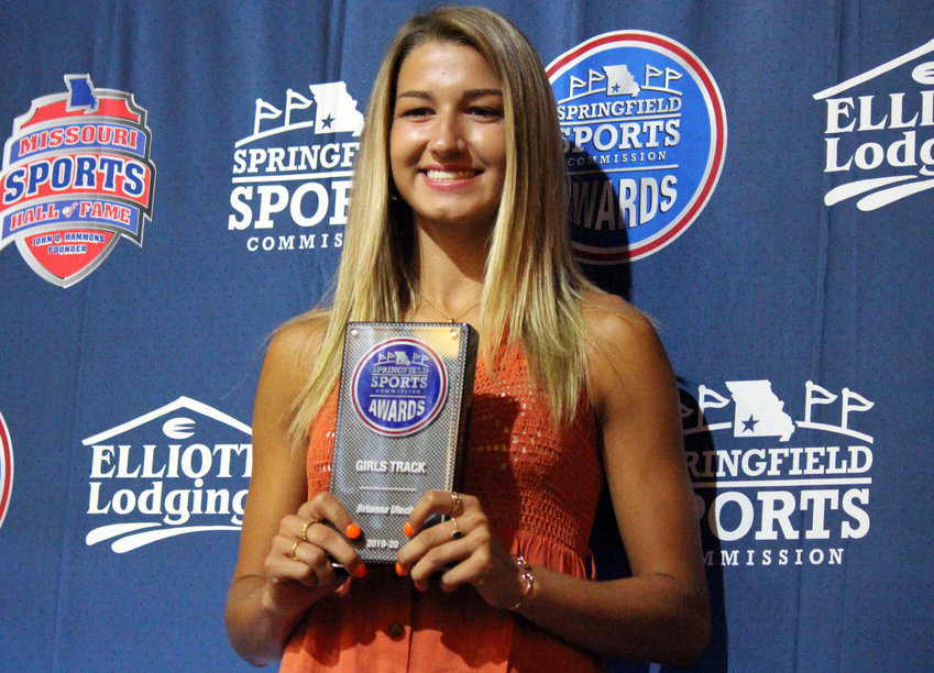 Marshfield senior Brianna Utecht took home the plaque for Best Girls Track & Field Athlete at Monday evening's Springfield Sports Commission Awards.