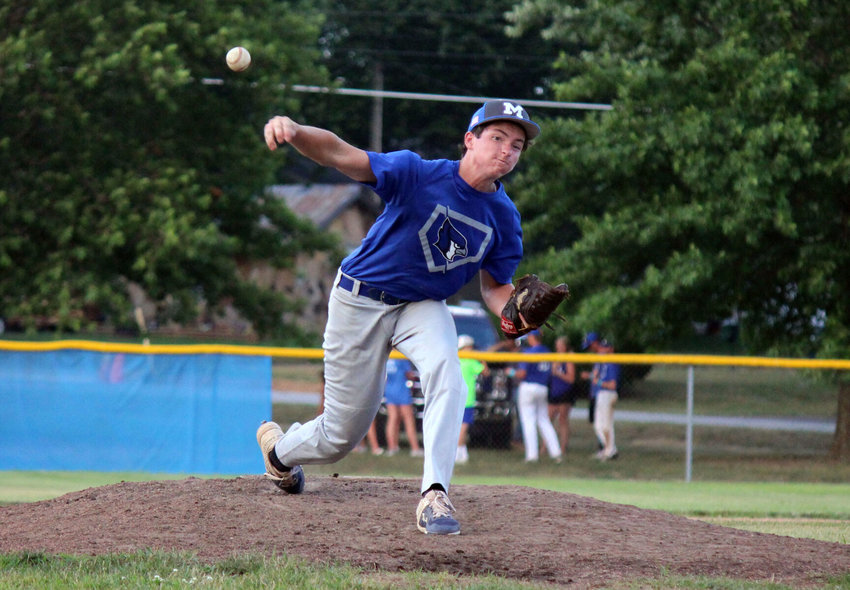 Silas Perkins delivers a pitch in the first inning of JV action that followed the Jays varsity game against Branson on July 15.