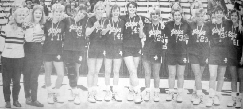 Pictured is the Lady Jays team that became back-to-back Class 3A Missouri State champions. They are (from left): Shanna Sims, Trisha Mahan, Stephanie Nunn, Stacy Nunn, Julie Howard, Nikki Cooper, Nicole Hilburn, Amy Shaffer, Carie Garrison, Kim Clemens, Melody Howard and Stephanie Stockton.