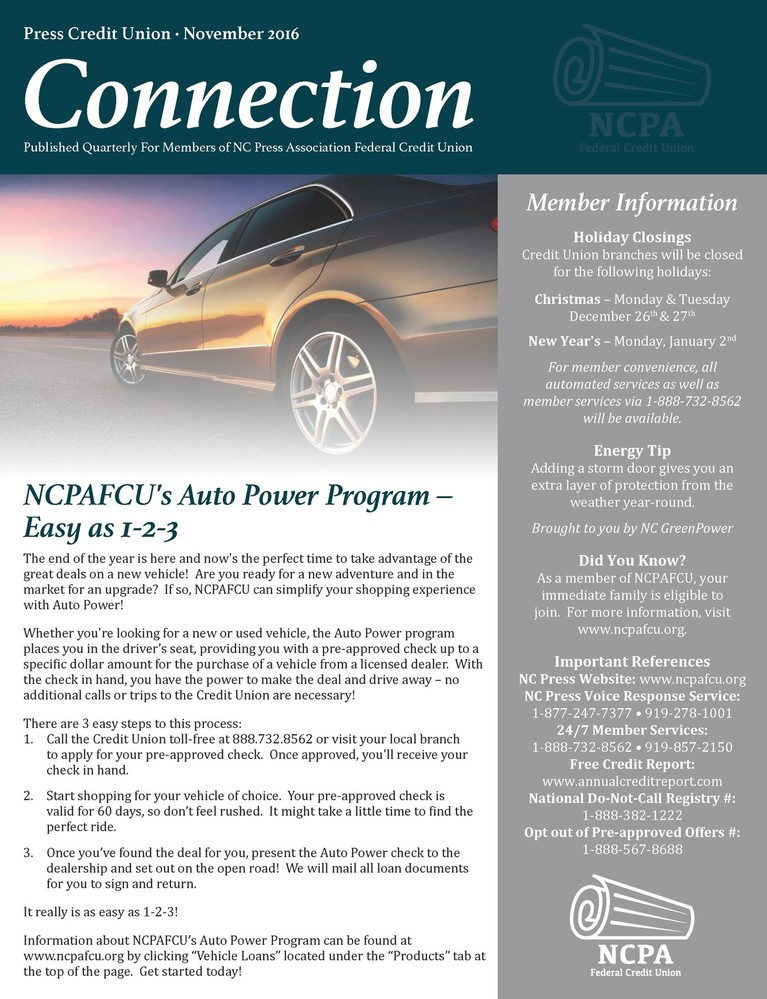 NCPA FCU Connections Newsletter. Nov. 2016