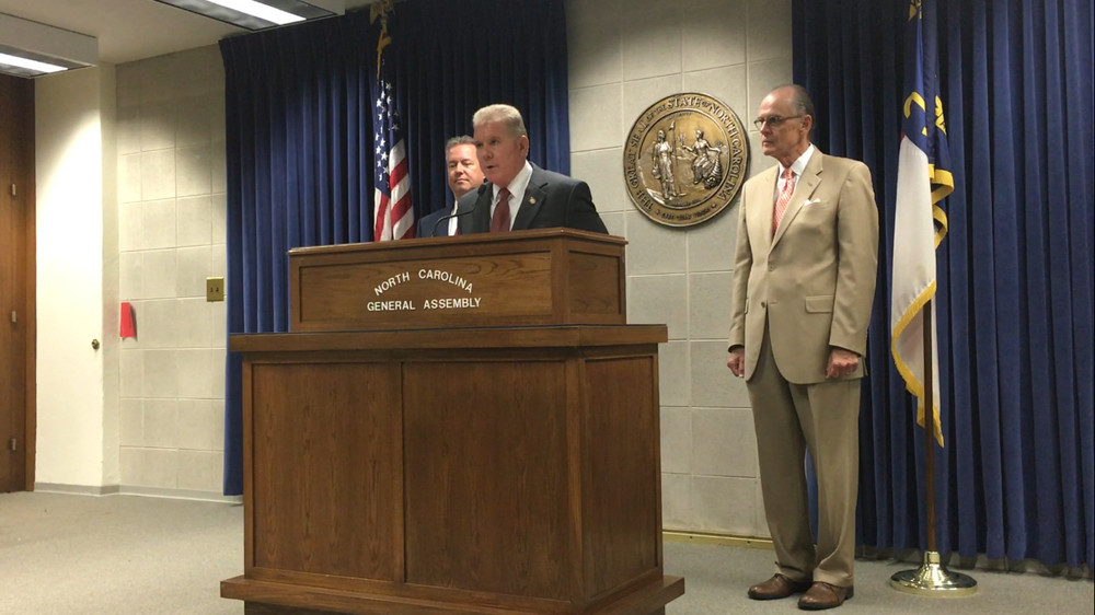 : N.C. Rep. Stephen Ross, R-Burlington, filed a bill Wednesday that would require local governments to continue publishing legal notices in newspapers. He is flanked by Rep. Chris Malone, R-Wake, and Ken Goodman, D-Rockingham, who are co-sponsors along with Ted Davis, R-Wilmington.