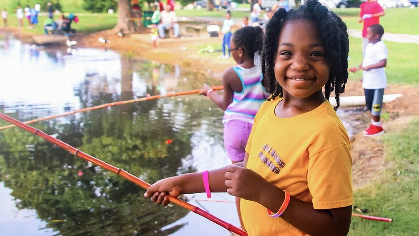Cane Pole fishing derby at MacArthur Park in Little Rock, Ark.