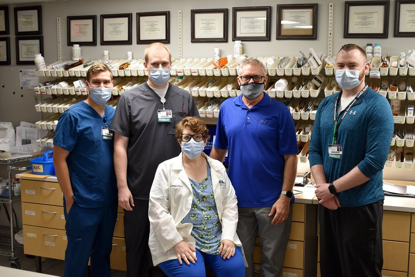 NARMC Pharmacists are: seated, Elaine Bieber; back row from left, Will Hawes,                          Taylor Davis, Steve Richards and Josh Maloney. Not pictured, Kailey Donahou, Drew Jensen,  Florence Yeager, Brandy Hubbard and Heather Reddell.
