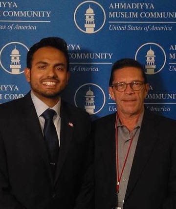 Former Harrisburg resident Salaam Bhatti, left, and Central Voice editor and publisher Frank Pizzoli, at the recent interfaith dinner sponsored by Harrisburg's Ahmadiyya Muslim Community USA.