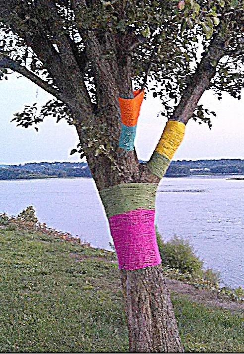 Yarn bombing is a form of graffiti or street art.