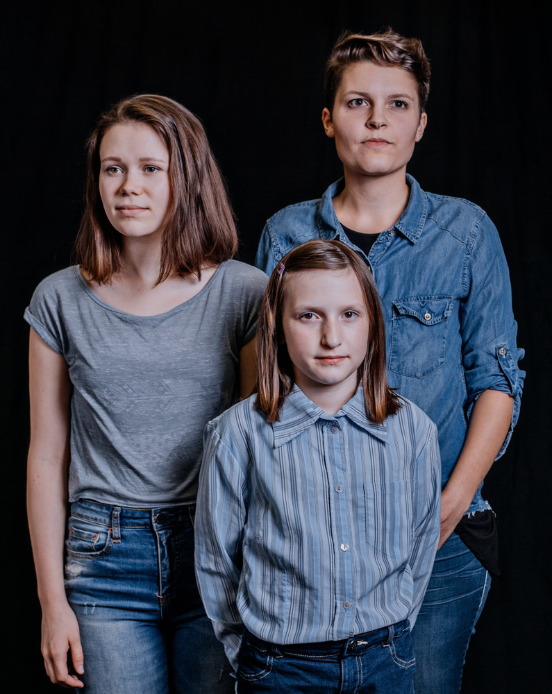 Vanessa Marie Hofer, Caroline Chronister, and Gretchen Sutton portray Alison Bechdel at three different ages and stages in her life as she explores the mysteries of her childhood.