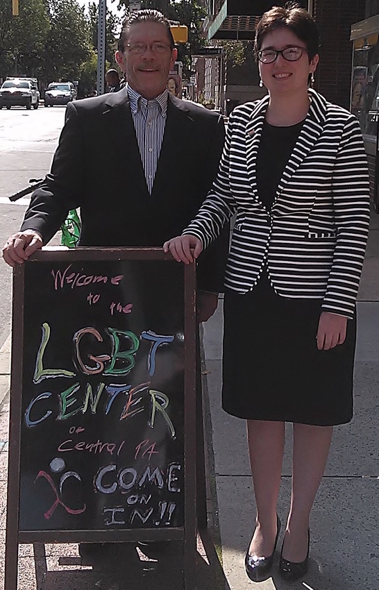 """I'm proud to be part of this diverse, vibrant and resilient community,"" said Amanda Arbour, right. She is executive director of the LGBT Center of Central PA. She spoke with Central Voice editor and publisher Frank Pizzoli, left, her first day on the job."