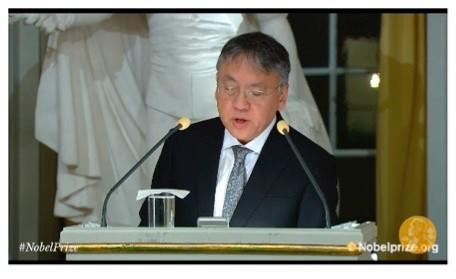 Nobel Prize-winning author Kazuo Ishiguro giving his acceptance speech
