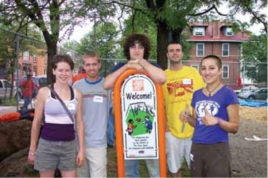 PSU Shippensburg University and Columbia University students pictured who worked to maintain green spaces around Allison Hill's Catholic Worker facilities.