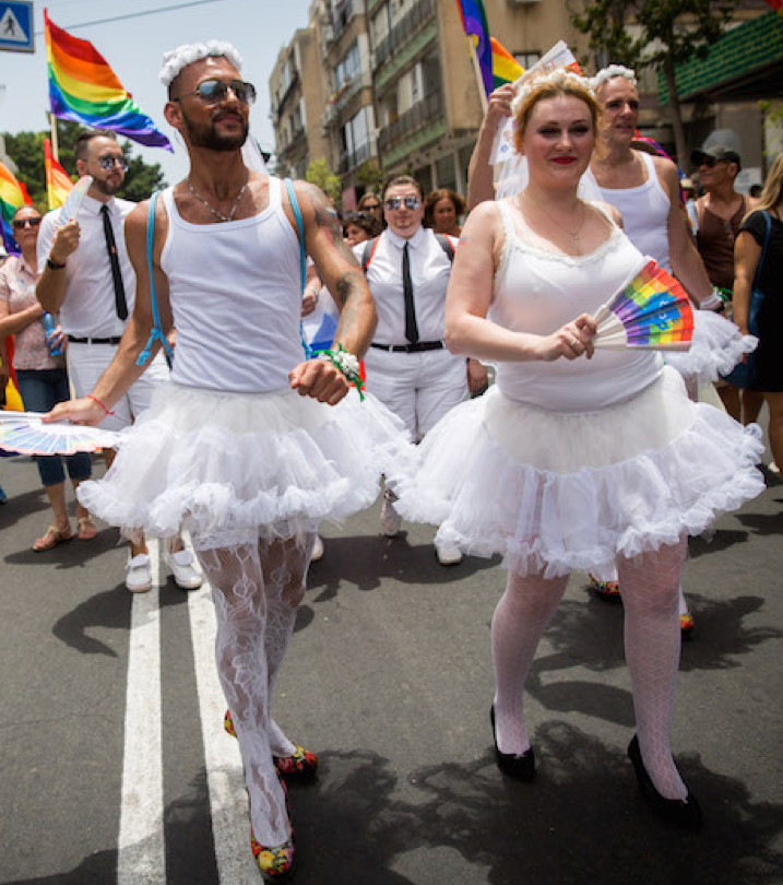 Participants marching in the annual Gay Pride Parade in Tel Aviv, June 9, 2017.