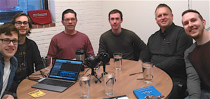 Participants in the recent podcast discussion about the film The Brain Wrap are pictured, from left, Clarke Stephanic, Brain Wrap producer; moderator Nick Lucier, who studies communications at Penn State Harrisburg; Frank Pizzoli, Central Voice founder and long-time writer for Lambda Literary Review; film buffs Josh Wacker, who studied film at Messiah College; Andrew Zelinski (who speaks fluent Italian), and Cohick, who read Aciman's book set in Italy; and Josh Wacker, who studied film at Messiah College.