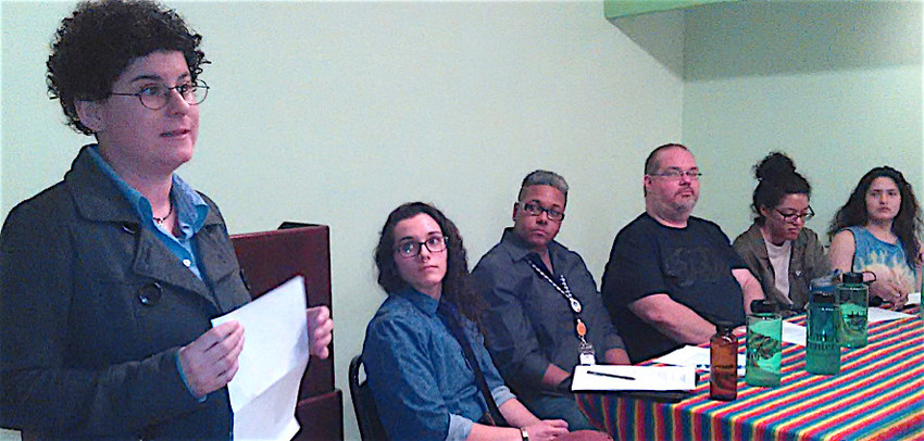 """We must open ourselves up to some discomfort so we can learn,"" said Heidi Notario, left, as she opened a discussion on Queering Racial Justice Feb. 20 at the LGBTQ Center of Central PA. Notario is president of the center board. Panelists from the left are Dre Ceja, ARTS of PA; Keisha McToy, Alder Health Services; Adanjesus Marin, Make the Road/PA; Angela Kirkland, local activist; and Tadi Betancourt, local activist. Twenty-four people attended the two-hour discussion. Watch for more in the May-June print edition of Central Voice."