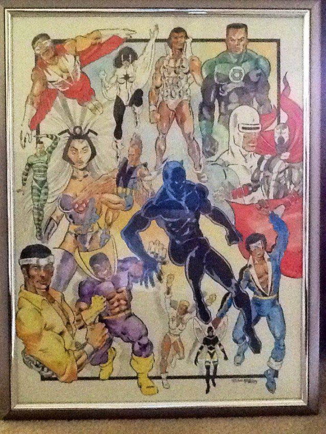 """I was just showing that people of all races have made an impact on our world in a positive way,"" explains Central Voice cartoonist Brad Gebhard. ""It doesn't matter who you are or what you look like underneath the costume, a superhero comes from within,"" he says. He completed the painting in 2005 for an art show and to promote his superhero class."