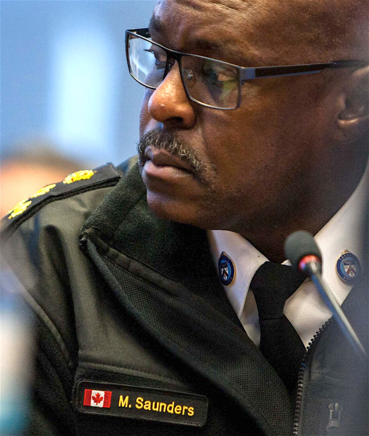 Toronto police Chief Mark Saunders at a police board meeting at police headquarters in March 2018.